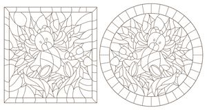 Contour set with illustrations in stained glass style for the New year and Christmas,Teddy bear, Holly branches and ribbons in the. Set of contour illustrations stock illustration