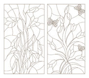 Contour set of illustrations in the stained glass style, snowdrops and tulips with butterflies, dark outline on a white backgroun. Set contour illustrations in stock illustration