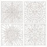 Contour set  illustrations in the stained glass style , sun, flower, snowflake. Set contour illustrations in the stained glass style , sun, flower, snowflake Royalty Free Stock Photography