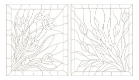 Contour set of illustrations in the stained glass style, tulips and crocuses, dark outline on a white background. Set contour illustrations in the stained glass vector illustration
