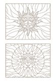 Contour set with  illustrations of stained glass sun with face,  dark outline on a white background , isolate Royalty Free Stock Images