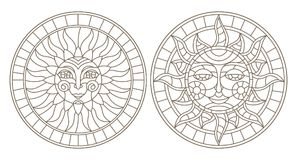 Contour set with illustrations of stained glass sun with face, round image, dark outline on a white background , isolate Stock Image