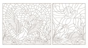 Contour set with  illustrations of stained glass with swans and lotuses on a pond on a background sky and sun. Set contour illustrations of stained glass with Stock Images