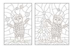 Contour set with illustrations of the stained glass Windows with Christmas cats, dark outlines on a light background. Set contour illustrations of the stained royalty free illustration