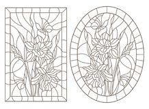 Contour set with illustrations of stained glass Windows with daffodils and butterflies flowers, round and rectangular image, dark. Set of contour illustrations stock illustration