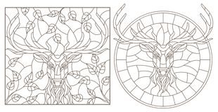 Contour set with illustrations of stained glass Windows with a deer head, round and rectangular image, dark contours on a white ba Vector Illustration