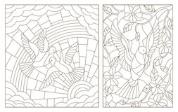 Contour set of  illustrations of the stained glass Windows with doves Stock Image