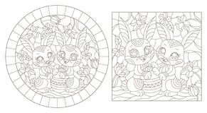 Contour set with   illustrations of stained glass Windows with funny Easter rabbits and egg on a background of flowers , dark cont. A set of contour royalty free illustration