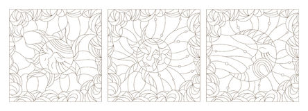 Contour set  illustrations of the stained glass Windows with the heavenly luminaries, the sun and the moon on a background of clou Stock Photography