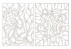 Contour set with illustrations of stained glass Windows with jellyfish and octopus, dark outlines on white background. Set of outline illustrations of stained Royalty Free Stock Photo