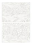 Contour set of illustrations of the stained glass Windows with landscapes Stock Images