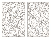 Contour set with illustrations of stained glass Windows with leaves of different trees, dark outlines on light background. Set of outline illustrations of royalty free illustration
