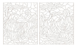 Contour set of illustrations  stained glass Windows with mountain scenery Stock Photography
