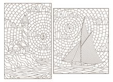 Contour set with illustrations of stained glass Windows with seascapes, sailboat and lighthouse on the background of the sea and. Set of contour illustrations of stock illustration