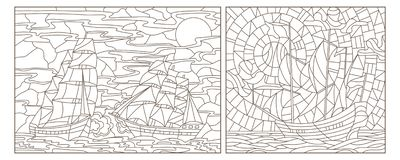 Contour set with illustrations of stained glass Windows with seascapes, ships against the sea and sky, dark contours on a white b. A set of contour illustrations vector illustration
