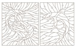 Contour set with  illustrations of stained glass Windows with sharks , dark contours on a white background stock illustration