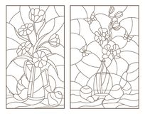 Contour set with  illustrations of the stained glass Windows with still lifes , flowers in vases and fruit Royalty Free Stock Photo