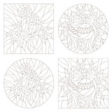 Contour set of illustrations of the stained glass Windows on the theme of new year and Christmas with candles and Christmas decora. Set contour illustrations of Royalty Free Stock Images