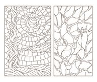 Contour set with  illustrations of the stained glass Windows with trees and birds , a dark outline on a white background Royalty Free Stock Photo