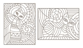 Contour set with  illustrations in the style of stained glass with abstract cats Royalty Free Stock Image