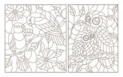 Contour set with illustrations in the style of stained glass with birds, a pair of parrots lovebirds and owl with owlet, dark con. A set of contour illustrations stock illustration