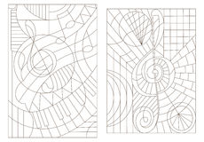 Contour set of illustrations on the theme of music with the treble clef Stock Photos