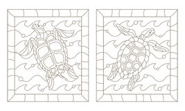 Contour set with  sea turtles into the waves, a dark outline on a white background. Set of outline illustrations in the style of stained glass with sea turtles Royalty Free Stock Photos
