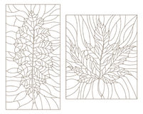 Contour set with Set of outline illustrations in the style of vintage with leaves. Set of outline illustrations in the style of vintage with leaves stock illustration