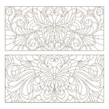 Contour set of stained glass with illustrations abstract swirls ,flowers and butterflies , horizontal orientation Stock Photos