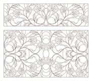Contour set with  stained glass illustrations with abstract symmetrical  flowers, dark contours on white background, horizontal o. Set of contour stained glass Stock Image