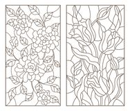 Contour set with stained glass illustrations with bouquets of flowers, roses and tulips, dark outlines on white background Royalty Free Stock Photography