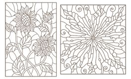 Contour set with  stained glass illustrations with flowers, sunflowers and abstract flower, dark outlines on white background. Set of contour stained glass Royalty Free Stock Photos