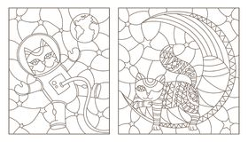 Contour set with  stained glass illustrations with funny cats, cat astronaut and cat sleeping on the moon, dark contours on a whit. Set of contour stained glass Stock Photography