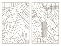 Contour set of stained glass with illustrations on the theme of music abstract violin and saxophone. Set contour illustrations of the stained glass Windows on Stock Images