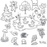 Contour set on a white background on a theme of autumn animals, trees, mushrooms, leaves.  Royalty Free Stock Image