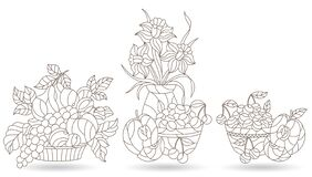 Free Contour Set With Illustrations In Stained Glass Style With Still Lifes, Lily Flowers And Fruits, Dark Outlines On A White Backgrou Royalty Free Stock Photo - 187253025
