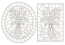 Free Contour Set With  Illustrations Of Stained Glass Windows With Still Lifes, Bouquets Of Callas And Pears, Dark Contours On A White Royalty Free Stock Image - 143117386