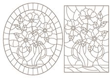 Free Contour Set With  Illustrations Of Stained Glass Windows With Still Lifes, Bouquets Of Flowers In Vases, Dark Contours On A White Stock Images - 143117414