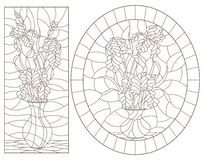 Free Contour Set With  Illustrations Of Stained Glass Windows With Still Lifes, Vases With Iris Flowers, Dark Outlines On A White Backg Royalty Free Stock Photography - 170056177