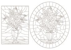 Free Contour Set With   Illustrations Of Stained Glass Windows With Still Lifes, Vases With Rose Flowers, Dark Outlines On A White Back Royalty Free Stock Photography - 170056227