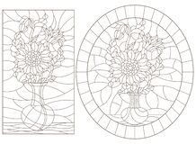 Free Contour Set With  Illustrations Of Stained Glass Windows With Still Lifes, Vases With Sunflower Flowers, Dark Outlines On A White Stock Image - 170056191