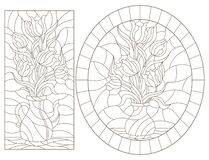 Free Contour Set With   Illustrations Of Stained Glass Windows With Still Lifes, Vases With Tulip Flowers, Dark Outlines On A White Bac Stock Images - 170056224