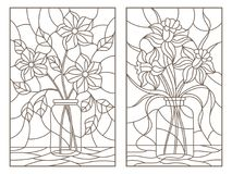 Free Contour Set With Illustrations Of Stained Glass Windows With Still Lifes With Bouquets Of Flowers In Banks, Dark Contours On A L Stock Photography - 118843972