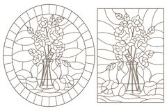 Free Contour Set With  Stained Glass Windows With Still Lifes, Roses In A Vase And Apples, Dark Contours On A White Background Stock Photo - 146356190