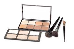 Contour shades and brushes. Two palettes of contour shades and brushes on a white background Stock Photography