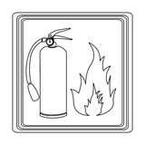 Contour signal silhouette fire flame and extinguisher icon Royalty Free Stock Photo