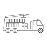 Contour silhouette with fire truck. Vector illustration Royalty Free Stock Image