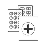 Contour silhouette with first aid kit and pills Royalty Free Stock Photo