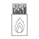 Contour silhouette of matchbox with logo flame Royalty Free Stock Photo
