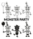 Contour and Silhouette Monsters Set Royalty Free Stock Photography